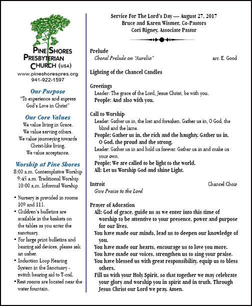 Aug 27 2017 Bulletin Cover Pine Shores Presbyterian Church Usa